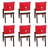 10 piezas de fundas para sillas con gorro de Papá Noel, funda trasera de silla con temática navideña, decoración de mesa de cena roja y blanca para celebraciones de fiestas de Navidad