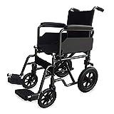 Mobiclinic, Modelo S230, Silla de ruedas para minusválidos, silla de ruedas de tránsito, plegable, ortopédica, reposapiés, reposabrazos, color Negro, asiento 43 cm