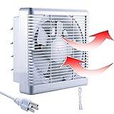 800m³/h 470 CFM Extractor de Baño Ventiladores de Baño Ventilación Reversible de 2 Vías con Persiana Interruptor Cable Gran Flujo Aire para Pared Ventana Cocina Garaje Tienda Inodoro 10' sin enchufe