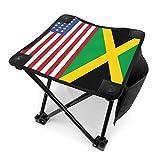 COMMER Taburete plegable de la bandera de Jamaica de Estados Unidos Fiag portátil, con bolsa de transporte, taburete de pesca, para pesca, senderismo, jardinería y playa, 30,5 x 30,4 cm