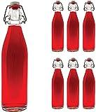 6 x 1 Litro Columpio Botella vacías de 1000 ml de vidrio con tapón de Swing slkfactory