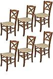 Tommychairs - Set 6 sillas Cross para Cocina y Comedor, Estructura en Madera de Haya Color Nuez Claro y Asiento tapizado en Tejido Color cáñamo