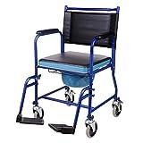 VONOYA Silla de Ruedas con Inodoro Silla Orinal para los Mayores/Discapacitados/Ancianos Silla Portátil de WC con Capacidad de 150 kg