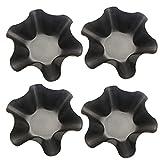 4 Piezas Molde para Muffins Negro Forma de Cuenco para Cupcakes Molde de Pudín de Acero Inoxidable Molde de Pastel de Acero con Forma de Flor Molde de Metal para Pasteles Apto para Lavavajillas