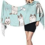 N/A Womens Large Scarf Funny Kitten Soft Cashmere Feel Pashmina Shawls Wraps