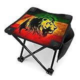 COMMER Lion Reggae Jamaica - Taburete plegable portátil con bolsa de transporte para pesca, senderismo, jardinería y playa, 30,5 x 30,5 cm