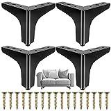 Cisolen 4 Piezas Patas de Mueble Triangulares Pies de Muebles de Metal para Renovar Muebles para Sofá, Silla, Mesa de Centro, Armario (10cm)