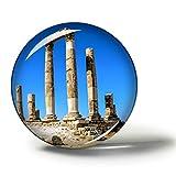 Hqiyaols Souvenir Ciudadela de amán Jordania Imanes Nevera Refrigerador Imán Recuerdo Coleccionables Viaje Regalo Circulo Cristal 1.9 Inches