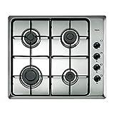 Teka - Placa de Gas natural con 4 quemadores y parrillas esmaltadas, acero inoxidable, 50 x 58 x 3.5 cm