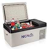 Novhome Nevera y congelador de coche de 15 litros, compresor de 12 V, mini refrigerador eléctrico para viajes al aire libre, camping y uso doméstico