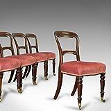 Suite de sillas de comedor antiguas, inglés, nogal, juego de, 5 sillas, dorado, victoriano
