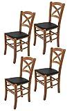 Tommychairs - Set 4 sillas Cross para Cocina y Comedor, Estructura en Madera de Haya Color Nuez Claro y Asiento tapizado en Polipiel Color Negro