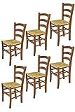 t m c s Tommychairs - Set 6 sillas Venice para Cocina y Comedor, Estructura en Madera de Haya Color Nuez Claro y Asiento en Paja