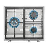 Placa de Gas natural con 3 quemadores de alta eficiencia y parrillas de fundición en 60 cm