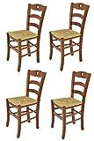 t m c s Tommychairs - Set 4 sillas Cuore para Cocina y Comedor, Estructura en Madera de Haya Color Nuez y Asiento en Paja