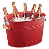 mDesign Enfriador de Botellas de Metal – Champanera Decorativa con Asas – Ideal como Cubo para Enfriar Bebidas como Vino, Cerveza, Cava o refrescos – Rojo