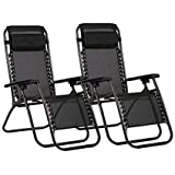 Havnyt Zero Gravity - Juego de 2 sillas reclinables para jardín, color negro