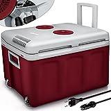 tillvex Nevera portátil eléctrica de 40 litros con ruedas | Mini nevera portátil de 230 V y 12 V para vehículos coches camping | Enfría y calienta | Modo ecológico (Rojo)
