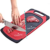 GEMITTO 2 en 1 Tabla de Cortar Cocina y Bandeja de Descongelación Rápida con Diseño de Suspensión, Sin Congelación Electrolítica, Certificado de la FDA (Rojo)