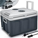 tillvex Nevera portátil eléctrica de 40 litros con ruedas | Mini nevera portátil de 230 V y 12 V para vehículos coches camping | Enfría y calienta | Modo ecológico (Gris)