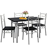 Casaria Conjunto de 1 Mesa y 4 sillas Paul Muebles de Cocina y de Comedor Negro Mesa MDF Resistente 110x70cm