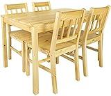 Merkell Conjunto Mesa de Pino y 4 sillas de Madera a la Sala de Estar, Comedor Natural Pine