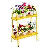 DOEWORKS - Soporte para maceteros con forma de escalera de 2 niveles, estante de esquina, soporte de exhibición para plantas suculentas para uso en interiores y exteriores, color amarillo