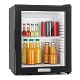 Klarstein MKS-12 - Nevera pequeña, Minibar, Mini nevera, Mini frigorífico, Volumen 24 litros, clase de eficiencia energética E, Silencioso 0 dB, Bajo Consumo, Puerta Cristal, Negro