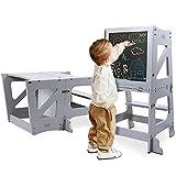 YOLEO Torre Aprendizaje Transformer, Torre Montessori para niños y bebés, Plegable Learning Tower con Pizarra Blanca y Negra magnéticas, Gris - Madera