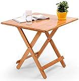 Mesa de comedor plegable pequeña mesa auxiliar redonda de bambú mesa de ordenador portátil bandeja de snack mesa de cocina estilo retro para bar café restaurante mesa de trabajo casa 60x60cm