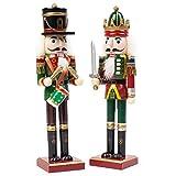 2 Piezas Cascanueces de Navidad de Madera, 30cm| Material de Pino y Madera Premium, Robusto, Colores Festivos| Marioneta de Navidad, Adornos de Decoración de Navidad Tradicionales Clásicos.