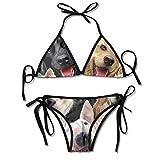 Los Perros domésticos Lindos Imprimieron los Sistemas para Mujer del Bikini, bañador de la Playa del Traje de baño del triángulo