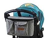 Bolsa Organizadora de Cochecitos para Mamá,Bolsa Carrito Bebe, Multifuncional de Gran Capacidad para Almacenar 31 x 20 x 18 cm(Gris)