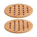 Hemoton 2 piezas de bambú natural salvamantel aislamiento térmico bambú madera salvamanteles almohadillas calientes duraderas salvamanteles para cocina casera restaurante (redondo pequeño tamaño)