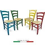 ZStyle - Silla Venezia de madera, diferentes colores, para restaurantes, agroturismos, cocinas, hogar, asiento de enea, verde, azul, amarillo, rojo