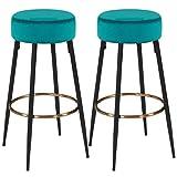 Duhome Juego de 2 taburetes de Bar Tela (Terciopelo) Redondo Patas de Metal Altura 80 cm seleccion de Color 5168A, Color:Verde Azulado, Material:Terciopelo