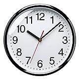 Plumeet 25 cm Reloj de Cuarzo de Pared silencioso, Decorativo para el hogar/la Cocina/la Oficina/la Escuela, fácil Leer y con Pilas (Negro)
