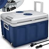 tillvex Nevera portátil eléctrica de 40 litros con ruedas | Mini nevera portátil de 230 V y 12 V para vehículos coches camping | Enfría y calienta | Modo ecológico (Azul)
