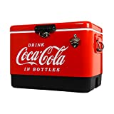 Coca-Cola Ice Chest Beverage Cooler with Bottle Opener 51 Litre /54 Quart, Red, Perfect Gift, Easy Cleaning, Use for Camping, Beach, RV, BBQs,