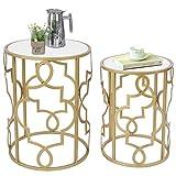 Amazon Brand - Umi Set 2 Mesa Auxiliar Redondas Mesas Nido Mesas de café con Tapa de Madera Blanca, 42 x 56 cm y 35 x 48 cm