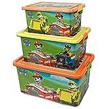 Cajas Almacenaje de Patrulla Canina - BONNYCO | Pack 3 Cajas Organizadoras de Juguetes y Ropa | Set de Contenedores Infantiles en 3 Tamaños - Cajas Almacenaje Plastico para Habitacion Niños y Niñas