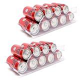QILZO Juego de 2 Cajas de almacenaje para Nevera y congelador Organizador de latas para frigorífico 35x14.5x10cm Organizador nevera transparente Envases de plástico para Alimentos Fabricado en España