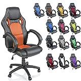 TRESKO Silla giratoria de oficina Sillón de escritorio Racing, silla Gaming ergonómica, cilindro neumático certificado por SGS (Negro/Naranja)