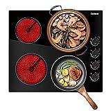 Karinear Cocina eléctrica de cerámica de 60 cm, quemador de cocción de cristal no pulido negro con control electrónico de 4 zonas