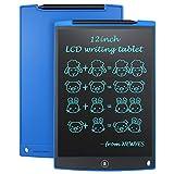 NEWYES 12' Tableta de Escritura LCD, Tableta gráfica, Ideal para hogar, Escuela u Oficina. Pilas Incluidas y 2 Imanes para la Nevera (Azul)