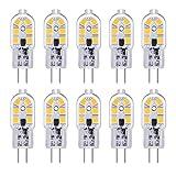 G4 LED 12V 2W para Piscina/Camper, 12 SMD, Luz Fria 6000K, 200LM, Equivalente Halógena bi pin G4 10W-20W, Bombillas G4 12V LED para Campana Estractora Cocina, no regulable, pack de 10