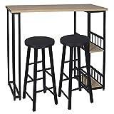 eSituro Juegos de Muebles Altas 1 Comedor Mesa y 2 Taburetes de Bar, Mesa de Bar Mesa de Cafetería Barra Cocina con Estructura de Metal con 2 Estantes 120x50x105cm Roble Claro SBST0401+SBST0329-2
