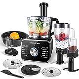 TopChef Procesador de Alimentos 1100W Procesador de Alimentos Compacto (con Accesorios incluidos: amasador, licuadora, exprimidor y Molinillo de café), Capacidad 3.5L, Plateado/Negro