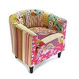 Versa Pink Patchwork Sillón orejero tapizado con reposabrazos Butaca con Botones, Algodón, Rosa, Verde, Azul, Beige y Morado