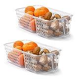 QILZO Juego de 2 Cajas de almacenaje para Nevera y congelador Caja transparente 2 compartimentos Organizador nevera transparente Envases de plástico para Alimentos Fabricado en España 30x15.5x9cm